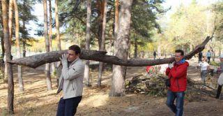 Жители Каменска-Уральского чистили городской парк от мусора, а десантники накормили всех солдатской кашей